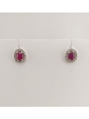 9ct White Gold Ruby and Diamond Oval Cluster Earrings