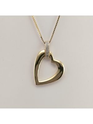 9ct Diamond Heart Pendant on Box Chain