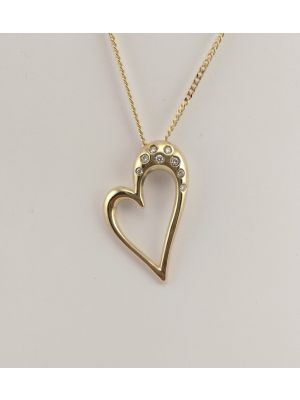 9ct Yellow gold Diamond set Heart pendant and chain