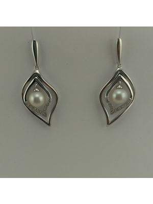 9ct White Gold Diamond and Pearl Earrings