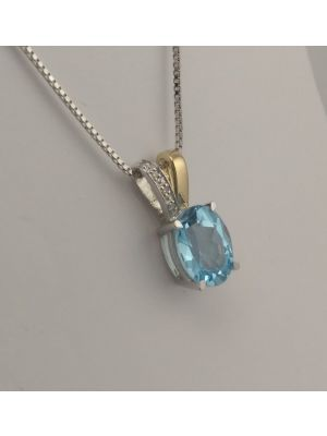 9ct White and Yellow Gold Blue Topaz and Diamond pendant and chain