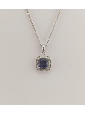 9ct White Gold Iolite and Diamond Pendant on Chain
