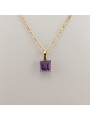 9ct Yellow Gold Amethyst Pendant and Chain