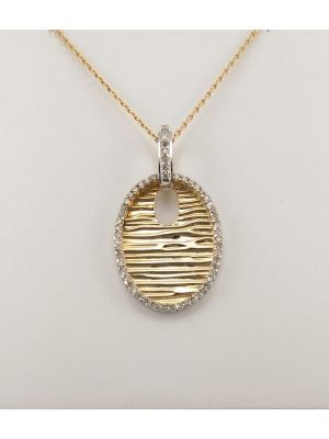 9ct Yellow Gold and Diamond Oval Pendant and Chain