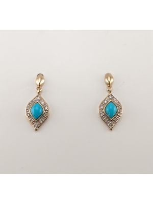 9ct Yellow gold Turquoise and Diamond Earrings