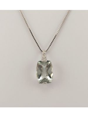 9ct White Gold Green Amethyst and Diamond Pendant on Chain