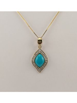 9ct Yellow Gold Turquoise and Diamond Pendant on Chain