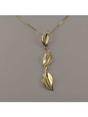 9ct Yellow Gold Triple Leaf Pendant and Chain