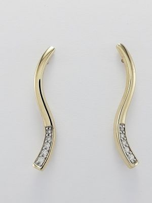 9ct Yellow Gold and Diamond Wavy Design Earrings