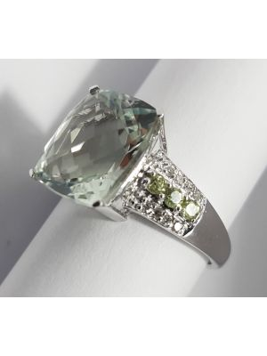 9ct White Gold Green Amethyst, Peridot and Diamond Ring