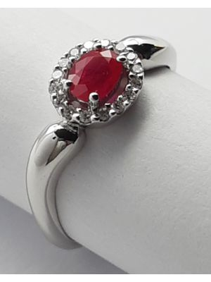 9ct White Gold Ruby and Diamond Oval Cluster Ring