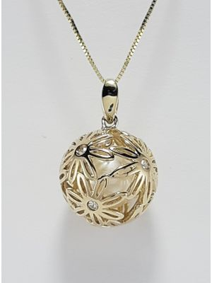 9ct Yellow Gold Diamond and Cultured Pearl Ball Pendant on Chain