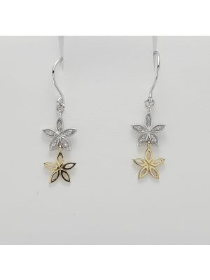 9ct Yellow and White Gold Diamond set Flower Earrings
