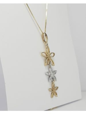 9ct Yellow and White Gold Diamond set Flower Pendant and Chain