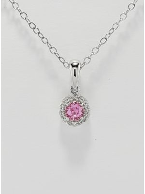 9ct White Gold Pink Sapphire and Diamond Cluster Pendant and Chain