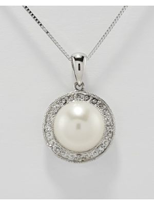 9ct White Gold Freshwater Pearl and Diamond Cluster Pendant on Chain